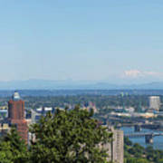 Portland Cityscape And Bridges On A Clear Blue Day Poster