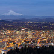 Portland Cityscape During Blue Hour Poster