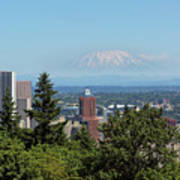 Portland Downtown Cityscape With Mount Saint Helens View Poster