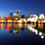 Portland Downtown Skyline Blue Hour Blurred Defocused Bokeh Poster
