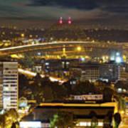 Portland Fremont Bridge Light Trails At Night Poster