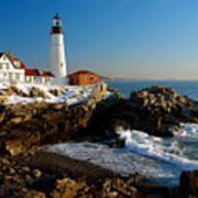 Portland Head Light - Lighthouse Seascape Landscape Rocky Coast Maine Poster