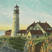 Portland Head Light At Sunrise Poster