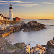 Portland Head Lighthouse In Maine Usa At Sunrise Poster