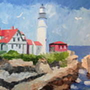 Portland Headlight By The Sea Poster