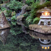 Portland Japanese Garden At Twilight Poster