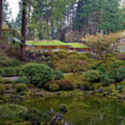 Portland Japanese Garden By The Lake Poster