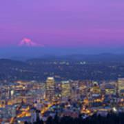 Portland Oregon Cityscape At Dusk Poster