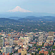Portland Oregon Cityscape Daytime Panorama Poster