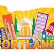 Portland Oregon Skyline In State Map Poster
