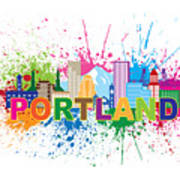 Portland Oregon Skyline Paint Splatter Text Illustration Poster
