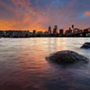 Portland Skyline Along Willamette River At Sunset Poster
