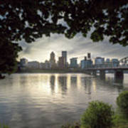 Portland Skyline Under The Trees At Sunset Poster