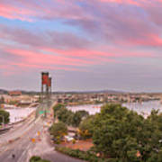 Portland Waterfront Hawthorne Bridge At Sunset Poster