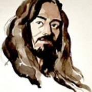 Watercolor Portrait Of A Man With Long Hair Poster