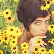 Portrait In Flowers Poster