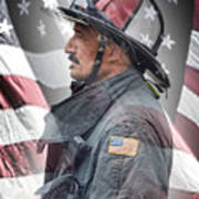 Portrait Of A Fire Fighter Poster