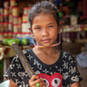 Portrait Of A Khmer Girl - Cambodia Poster