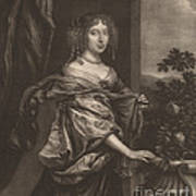Portrait Of A Lady Beside A Rose Bush Poster