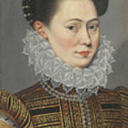 Portrait Of A Lady Head And Shoulders In A Lace Ruff Poster