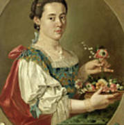 Portrait Of A Lady With A Flower Basket Poster