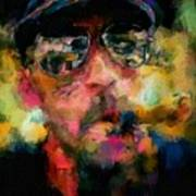 Portrait Of A Man In Sunglass Smoking A Cigar In The Sunshine Wearing A Hat And Riding A Motorcycle In Pink Green Yellow Black Blue Oil Paint With Raking Light To Pick Up Paint Texture Poster