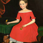 Portrait Of A Winsome Young Girl In Red With Green Slippers Dog And Bird Poster