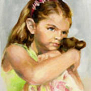 Portrait Of A Young Girl With Toy Bear Poster