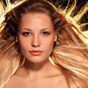 Portrait Of Beautiful Woman Face With Glowing Golden Blond Hair Poster