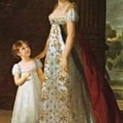 Portrait Of Caroline Murat With Her Daughter Poster