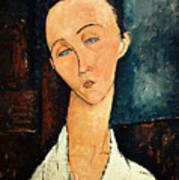 Portrait Of Lunia Czechowska Poster by Amedeo Modigliani