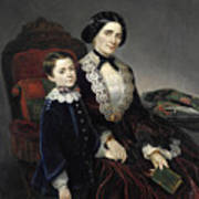 Portrait Of Mother And Son Poster