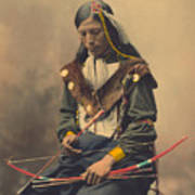 Portrait Of Oglala Sioux Council Chief Bone Necklace Poster