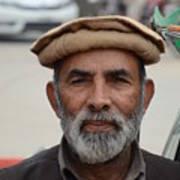 Portrait Of Pathan Tuk Tuk Rickshaw Driver Peshawar Pakistan Poster