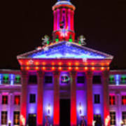 Portrait Of The Denver City And County Building During The Holidays Poster