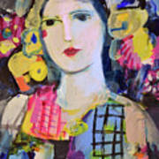 Portrait Of Woman With Flowers Poster