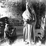 Portrait Sisters Village Elders Seniors Indian Rajasthani Bnw 2a Poster