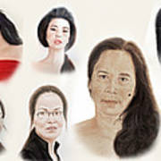 Portraits Of Lovely Asian Women II Poster