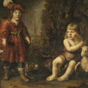Portraits Of Two Boys In A Landscape One Dressed As A Hunter The Other St As John The Baptist Poster