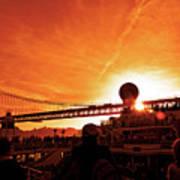 Sunset Under The 25 April Bridge Lisbon Poster