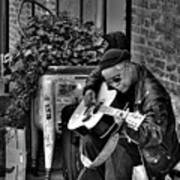 Post Alley Musician In Black And White Poster