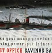 Post Office Savings Bank - Steamliner - Retro Travel Poster - Vintage Poster Poster