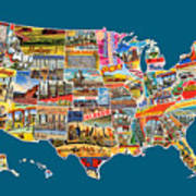Postcards Of The United States Vintage Usa All 50 States Map Poster