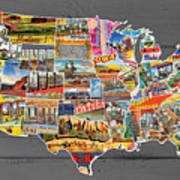 Postcards Of The United States Vintage Usa Lower 48 Map On Gray Wood Background Poster