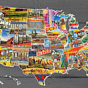 Postcards Of The United States Vintage Usa Map On Gray Wood Background Poster
