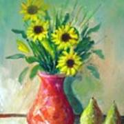 Pottery Vase And Flowers Poster