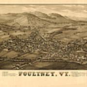 Poultney Vermont Map Vintage Poster