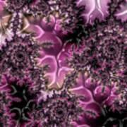 Powder Pink Black Gloss Fractal  Poster