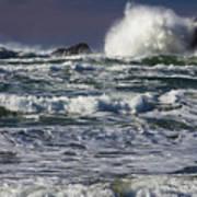 Powerful Waves Crash Ashore Poster