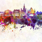 Poznan Skyline In Watercolor Background Poster